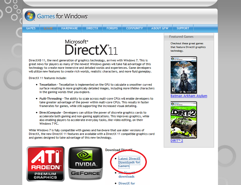 Click on Latest DirectX Downloads for Gamers